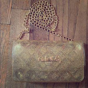 Handbags - Super CUTE gold glitter jelly purse w/ gold chain